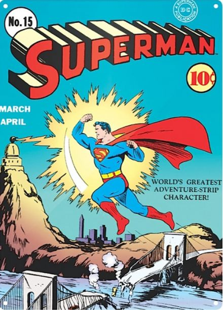 Superman Comic Poster No15 - A3 Metal Wall Sign